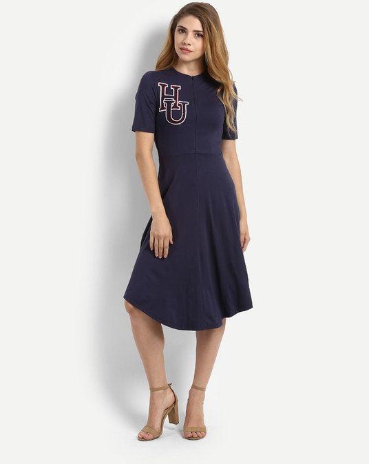 63e86a7c583 Navy Lilliam Embroidered Skater Midi Dress in 2018