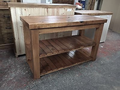 NEW RUSTIC CHUNKY SOLID WOOD BATHROOM SINK VANITY UNIT *handmade Any Size
