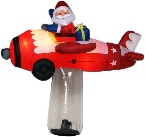 gemmy inflatable christmas lawn decoration 9 feet tall floating illusion santa claus in plane