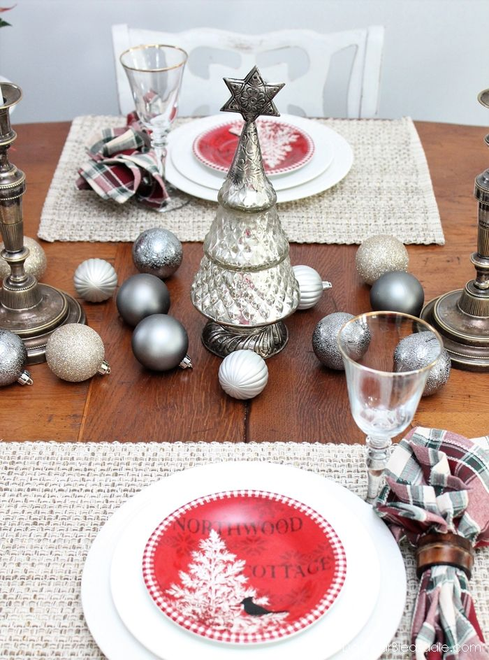 metallic tablescape with boscovs holiday decor