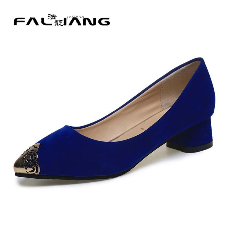 >> Click to Buy << big size 34-42 women's 3 colors chunky heels metal sheets pointed toe sexy pumps high quality less platform wedding party shoes #Affiliate