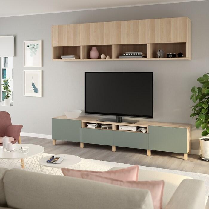Grenen Tv Kast White Wash.Besta Tv Storage Combination White Stained Oak Effect Lappviken