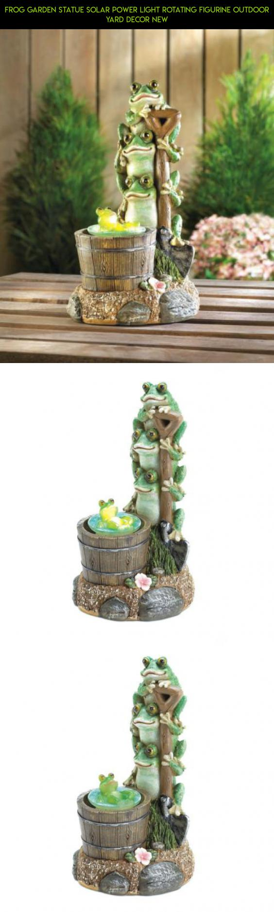 Garden decor statues  Frog Garden Statue Solar Power Light Rotating Figurine Outdoor Yard