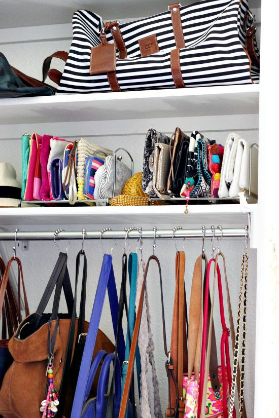 15843377303 ... curtain rings are perfect for hanging handbags   clutches stay upright  in lid organizers! I found the shiny chrome ones at HomeGoods (sponsored pin )