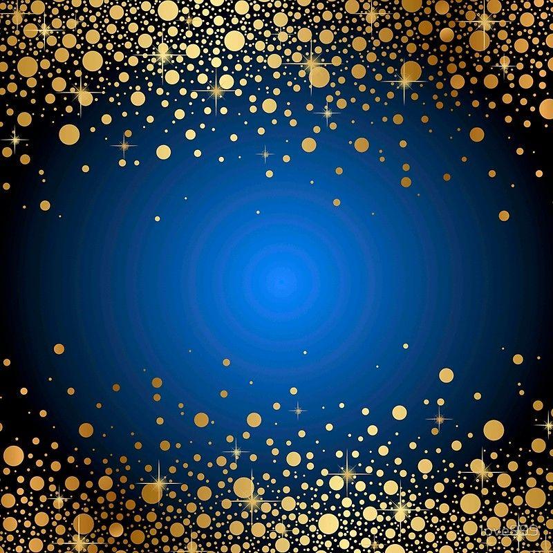 Gold Dots Deep Blue Background Modern Trendy Glitter Glam