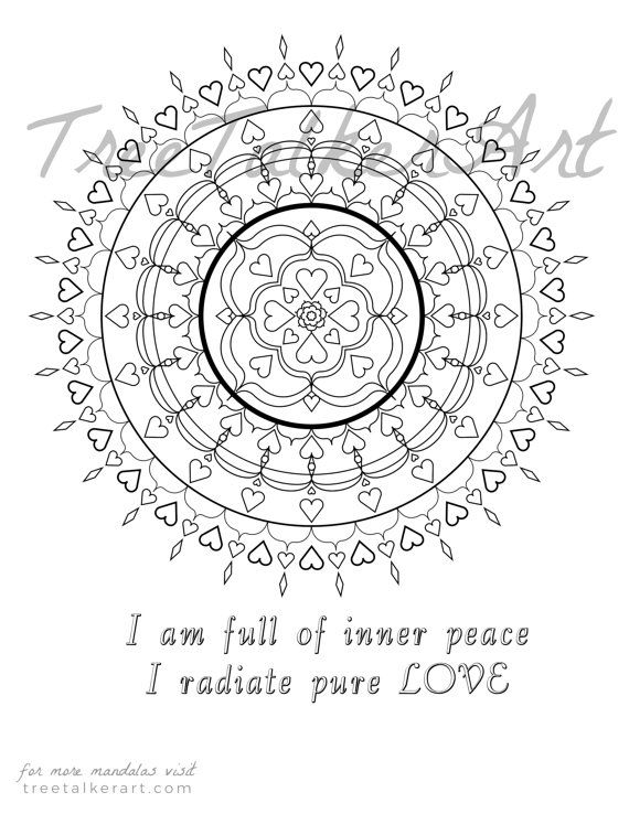 Mantra Mandala Adult Coloring Pages Downloadable By Treetalker