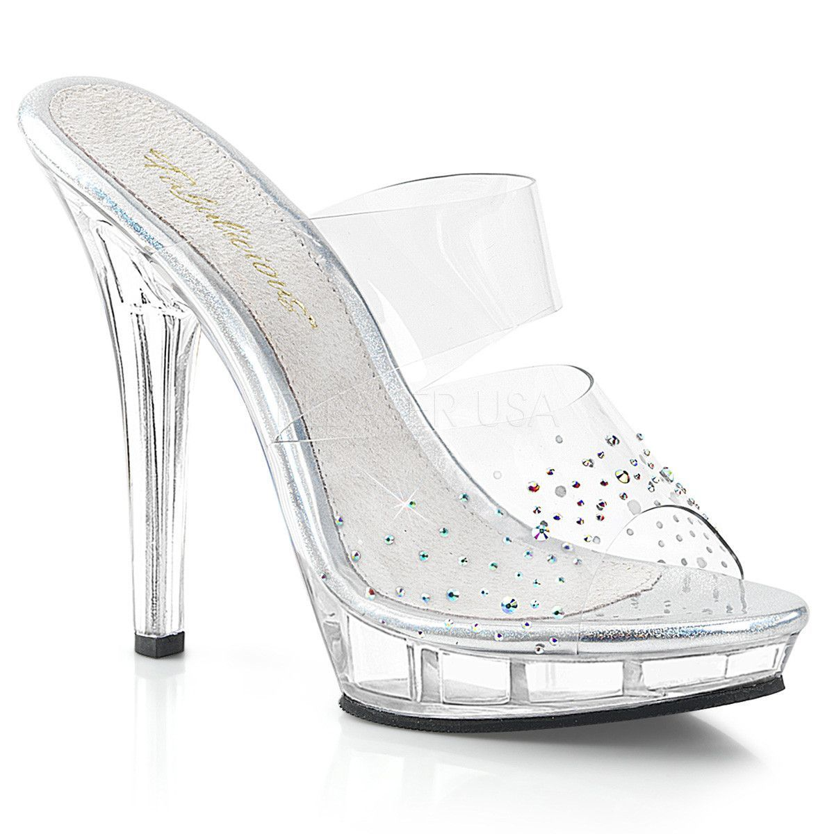 f1390a8580d GALA-08MMG Fabulicious Sexy Shoes 4 1 2 Inch Heel Clear Posing Glitter  Sandals