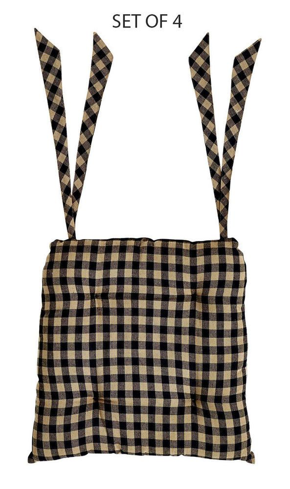 Set Of 4 Black And Tan Checked Chair Pads, By Nancyu0027s Nook Of VHC Brands  NEW #VHCBrands #primitivekitchen #chairpad