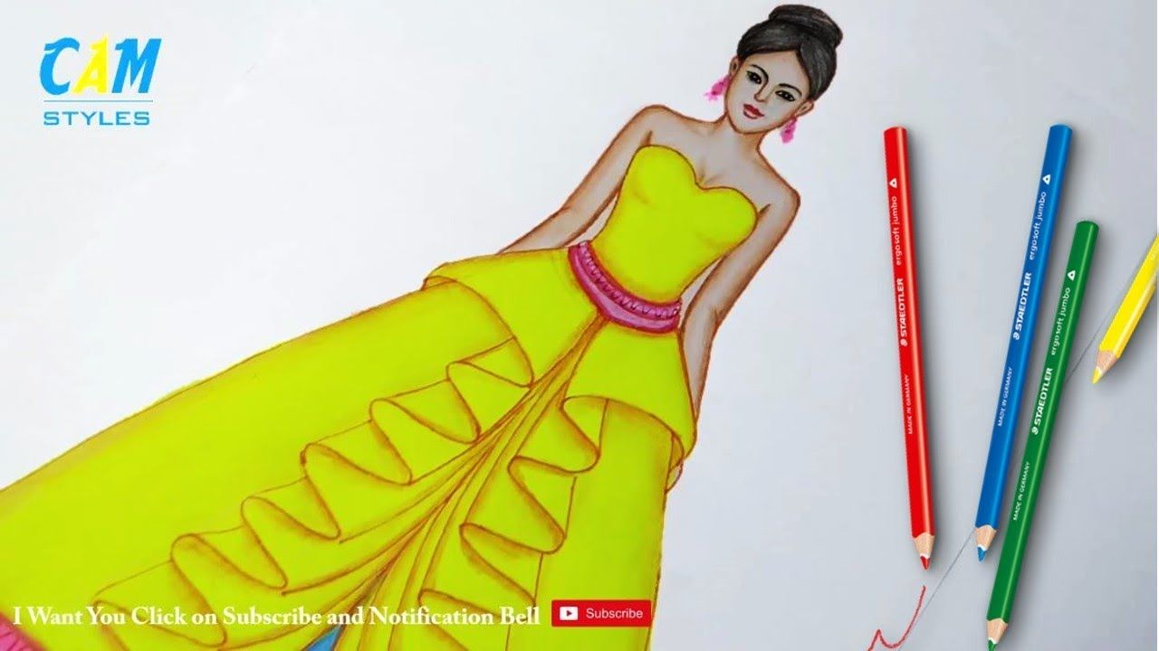 Fashion Illustration Drawing Dress Using Color Pencil For Beginners Fashion Illustration Drawings Illustration