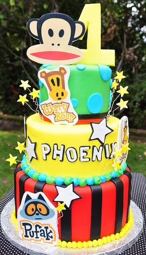 Paul Frank Themed Cake Featuring Julius Worry Bear Pufak And Clancy Made By The Mamas Paulfrank Party
