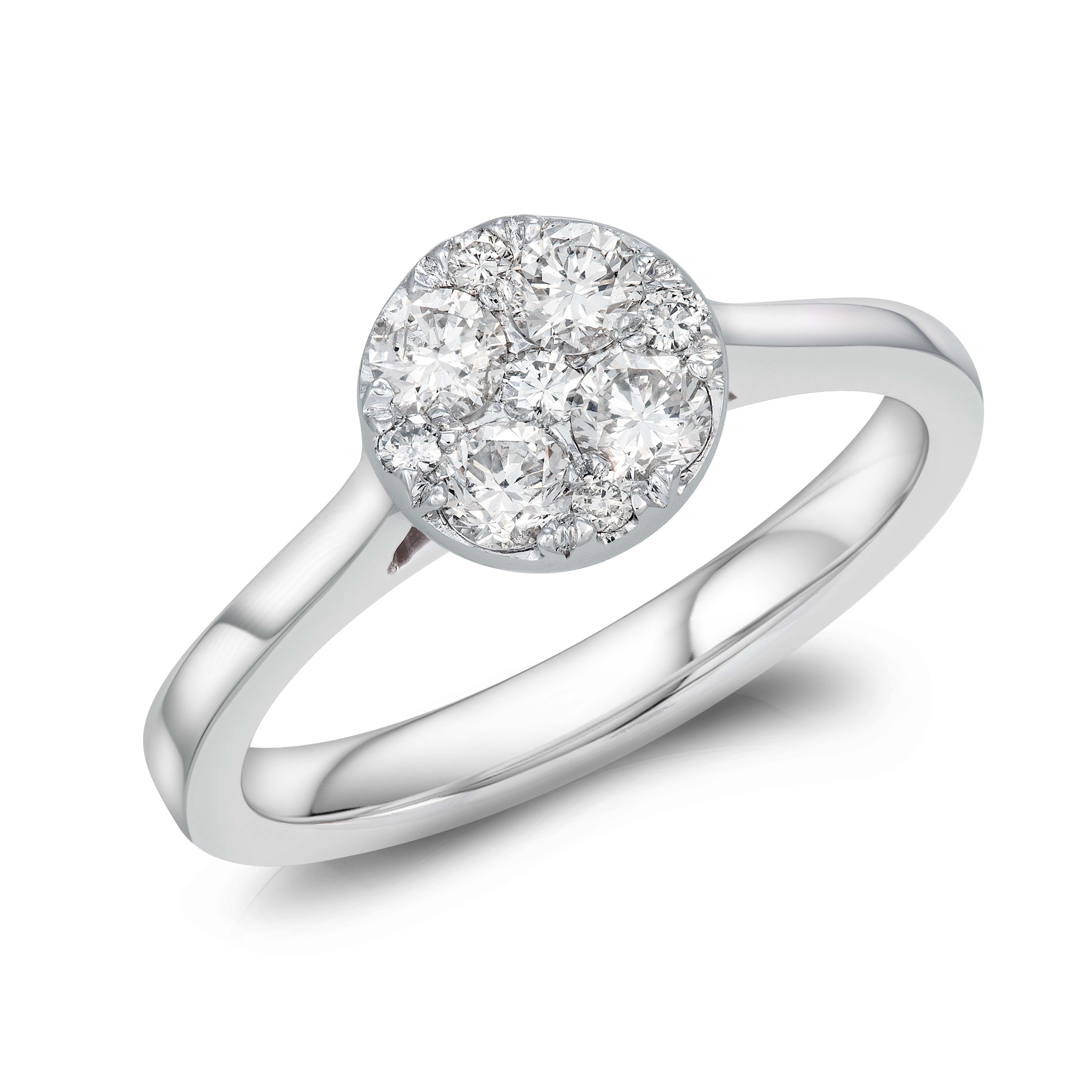 18CT WHITE GOLD ROUND REVERIE DIAMOND RING NON HALO 1.00CT