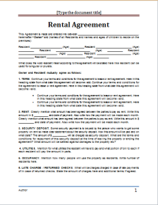 microsoft rental agreement template