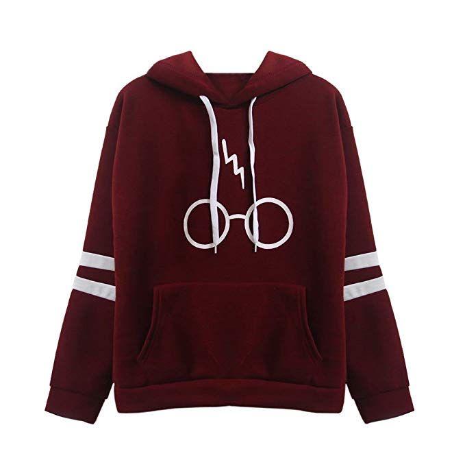 Damen Langarm Rundhals Kapuzenpullover Harry Potter Blitz Glaser Druck Hoodie Tasche Sweatshirt Pullover Mi Jugend Mode Outfits Coole Outfits Sweatshirt Outfit