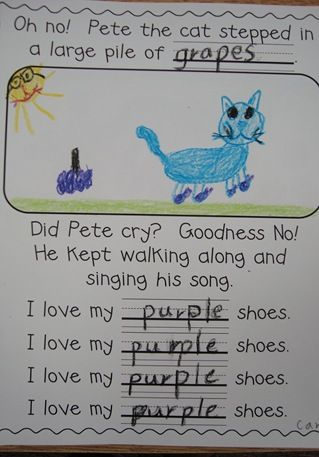 Pete the Cat and color words for emergent readers.  Maybe do this with a blank spot to color in  on the sentence line.....especially if we do it the first week of kinder.