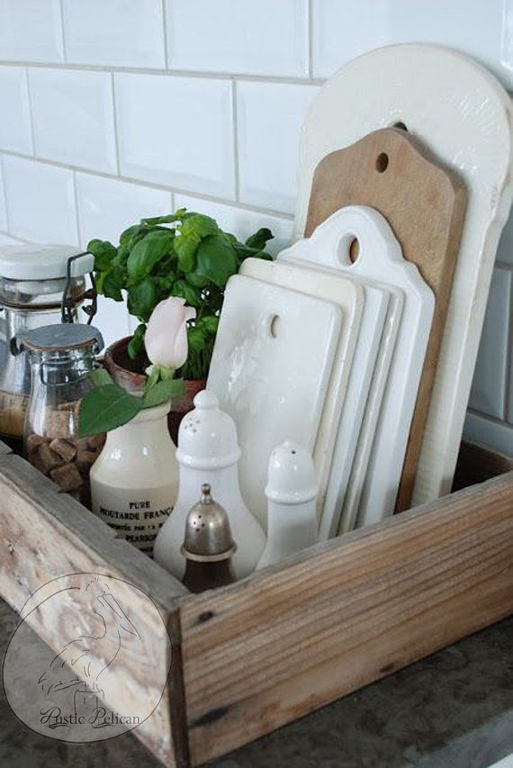 Photo of Rustic Kitchen Caddy -Reclaimed Wood Style Caddy- Wood kitchen Tray – Barn Wood – Farmhouse – Country Decor -Cottage Chic -Rustic Home Decor