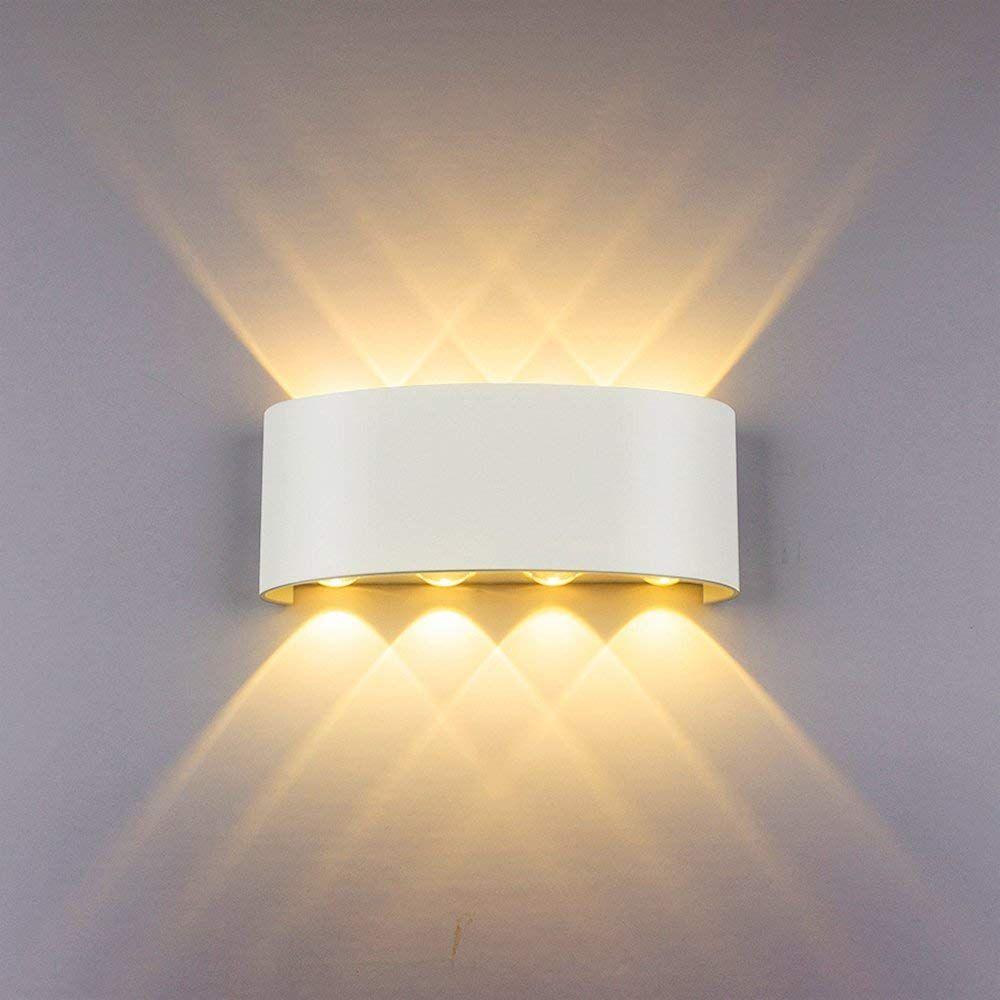 Amazon Led Modern Wandleuchte Innen 8w Weiss Wandlampe Licht Up Down Leuchten In 2020 Wandlampe Wandbeleuchtung Aussenwandbeleuchtung