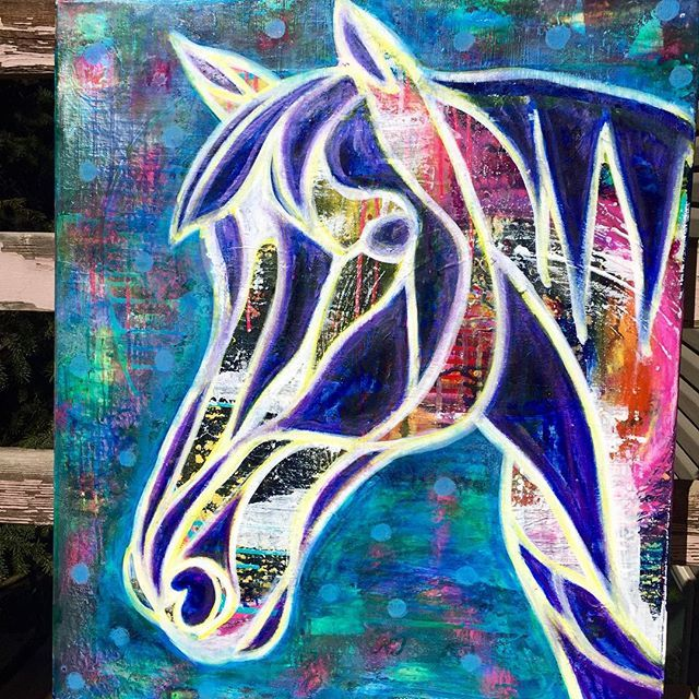"""""""Finished up another #horse #painting today too! #channeledart #intuitivepainting #denverartist #coloradoartist #coloradoartists #intuition"""" Photo taken by @innerpowerpaintings on Instagram, pinned via the InstaPin iOS App! http://www.instapinapp.com (10/10/2015)"""