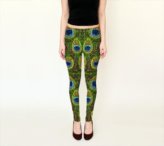 #Peacock #Feather #Glitter Print Leggings #fashion #PeacockFeathers #Fashion