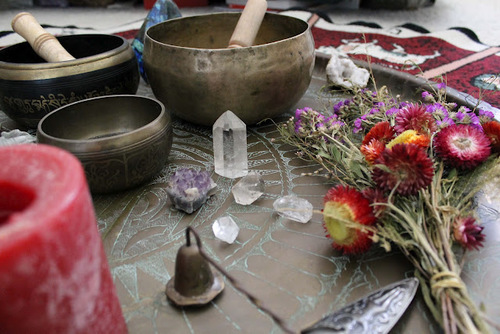 Crystals, singing bowls, candles and flowers on a circular mandala - intentional offerings create a sacred space. #zerouv,  #healing  sunglasses  stones