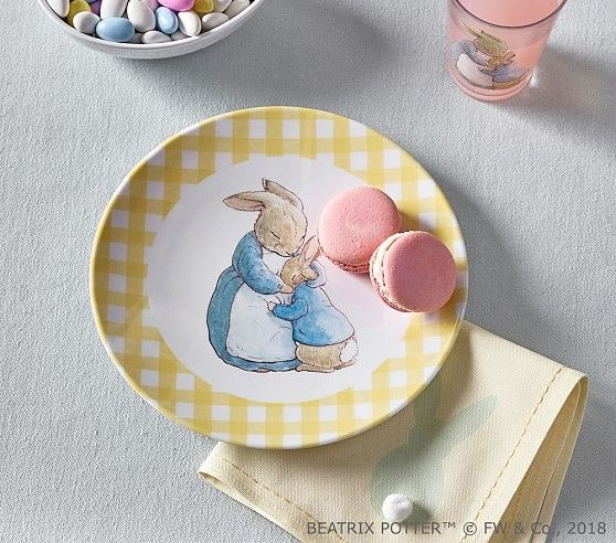 Beatrix Potter Gingham Plates Peter Rabbit Plates