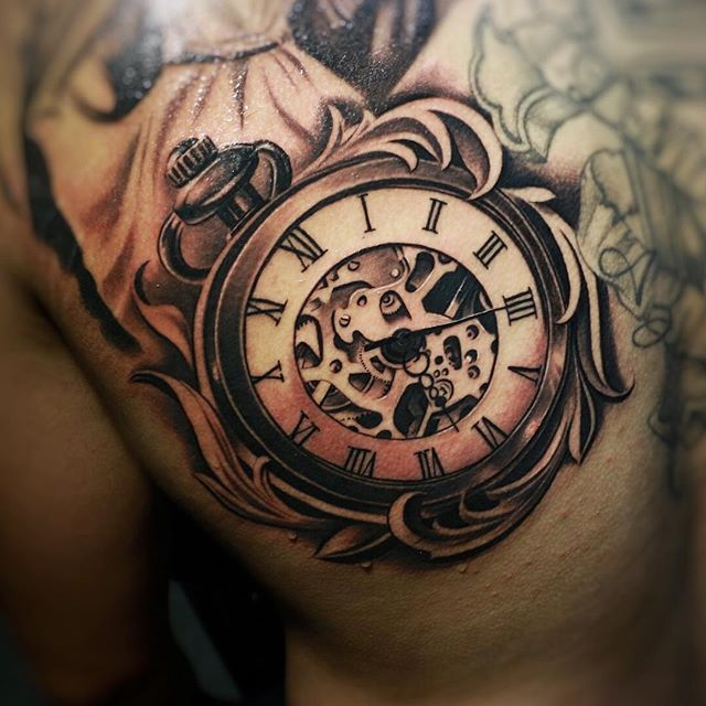 28 Watch Tattoo Designs Ideas: Pocket Watch Clouds Tattoo Design - Google Zoeken