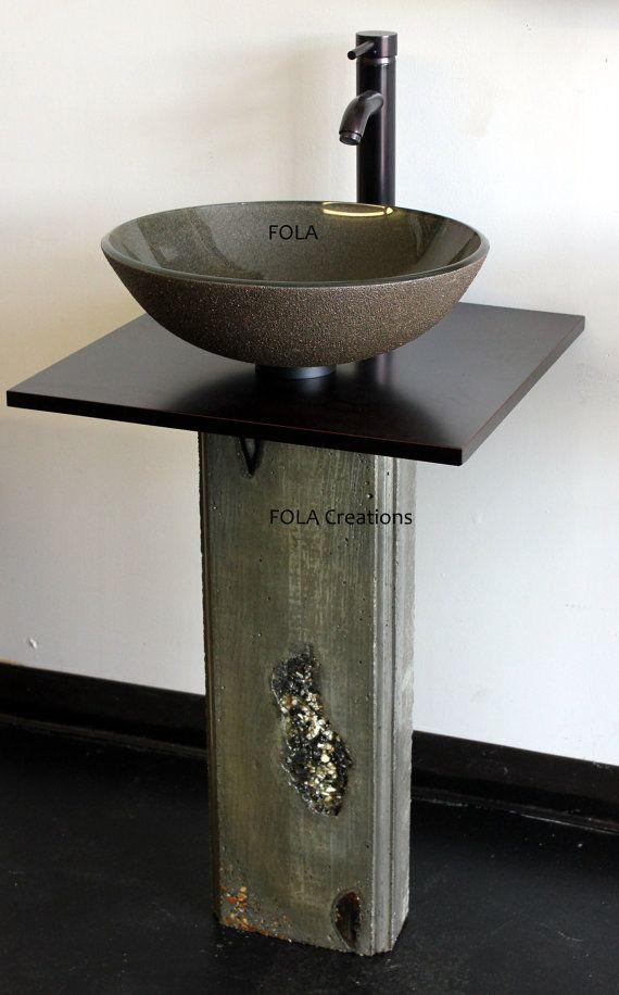 Glass Vessel Sink U0026 Abstract Modern Concrete Bathroom Vanity Pedestal And  Black Countertop SET