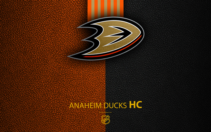 Download Wallpapers Anaheim Ducks HC 4K Hockey Team NHL Leather Texture