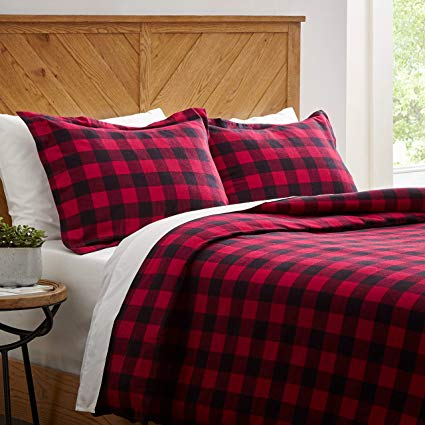 Amazon Com Stone Beam Rustic Buffalo Check Flannel Duvet Cover Set Twin Red And Black Home Kit Flannel Duvet Cover Farmhouse Bedding Sets Flannel Duvet