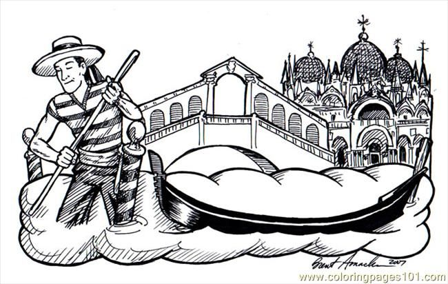 Venice Italy Gondola Coloring Pages Coloring Pages For Kids