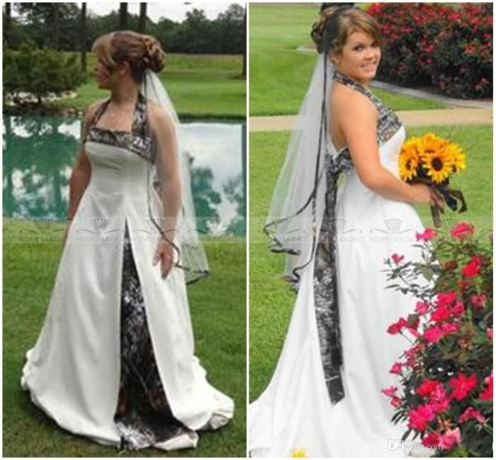 Free Shipping  Buy Best Romantic Plus Size Long White Camouflage Wedding  Dresses 2017 Hot Selling Halter Neck Cheap Camo Wedding Dress Bridal Gown  Online ... b93aa42ac533