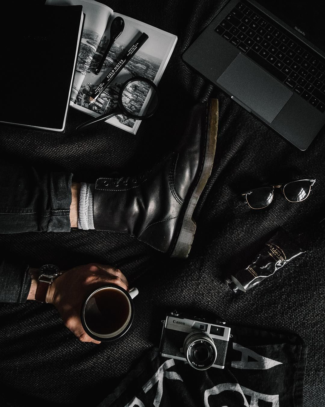 Last Of The Day Captured On Its Been A Fairly Laid Back But Caffeine Fuelled Sunday Catching Up On Lots Of Work No Black Aesthetic Flat Lay Photography Black