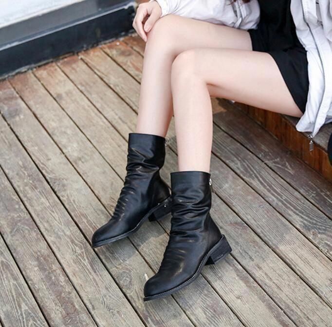 Damenschuhe Block Niedrig Heels Mid Calf Stiefel Stiefel Stiefel Back Zipper Punk Schuhes Retro ... c4c477