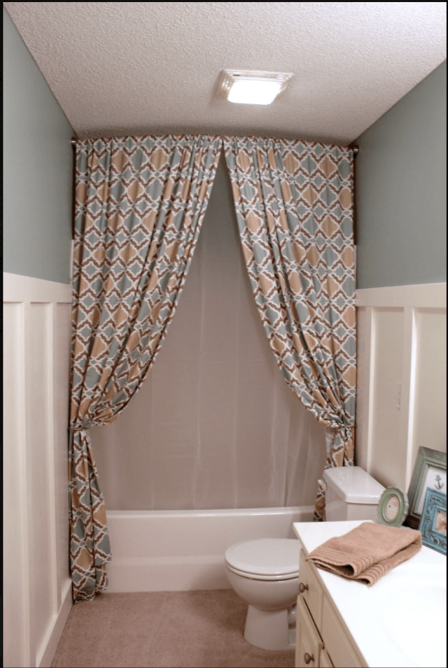 Hang A Shower Curtain All The Way Up To The Ceiling To Make The