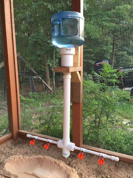 An easy way to keep your flock watered and not have a mess with overturned water containers!