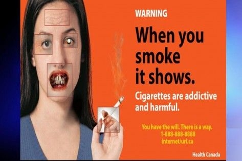 New labelling for cigarette packages. Courtesy Health Canada.