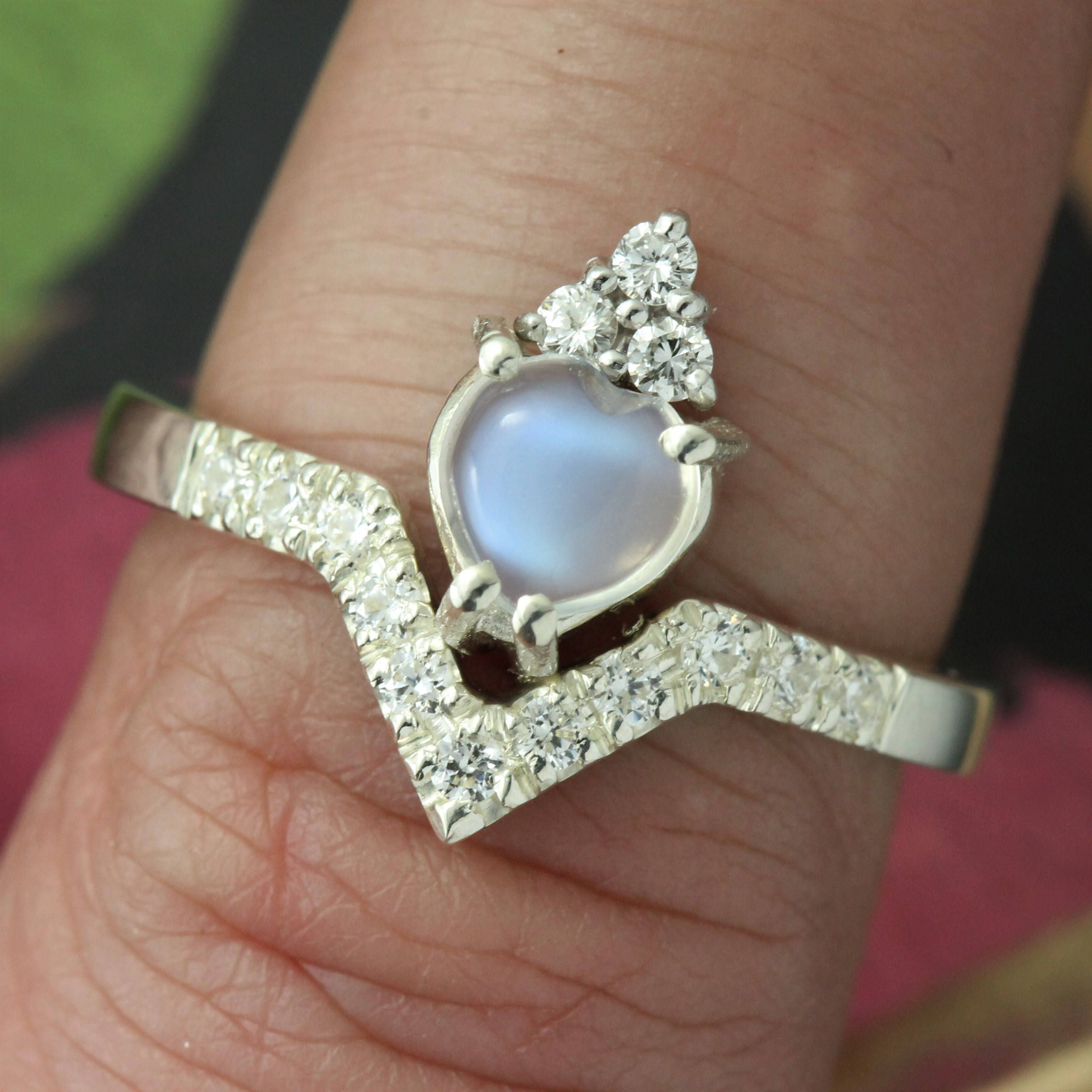 Diamond claddagh ring Moonstone claddagh ring Modern claddagh