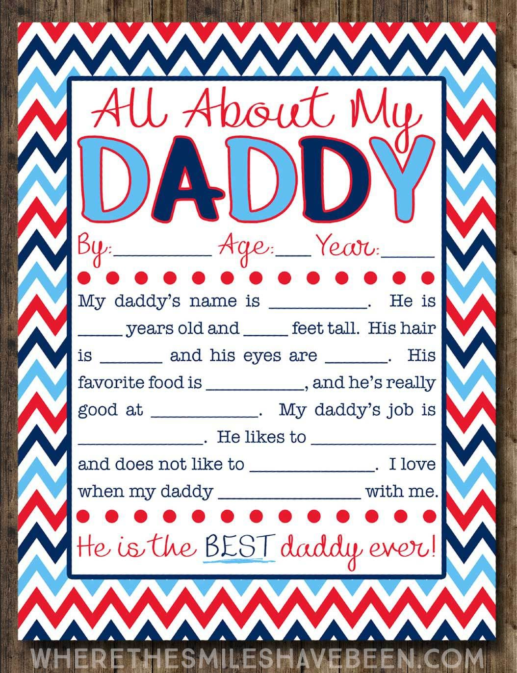 All About My Daddy Interview With Free Printable