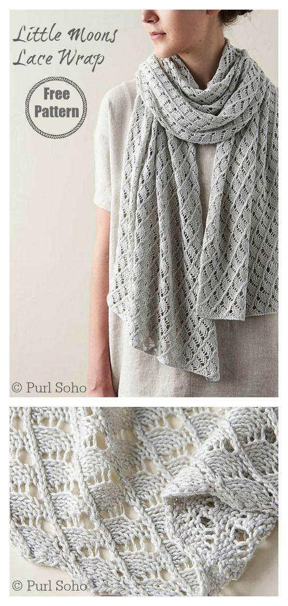 Photo of Little Moons Lace Wrap Free Knitting Pattern #startknittingfreepattern #shawlwra…