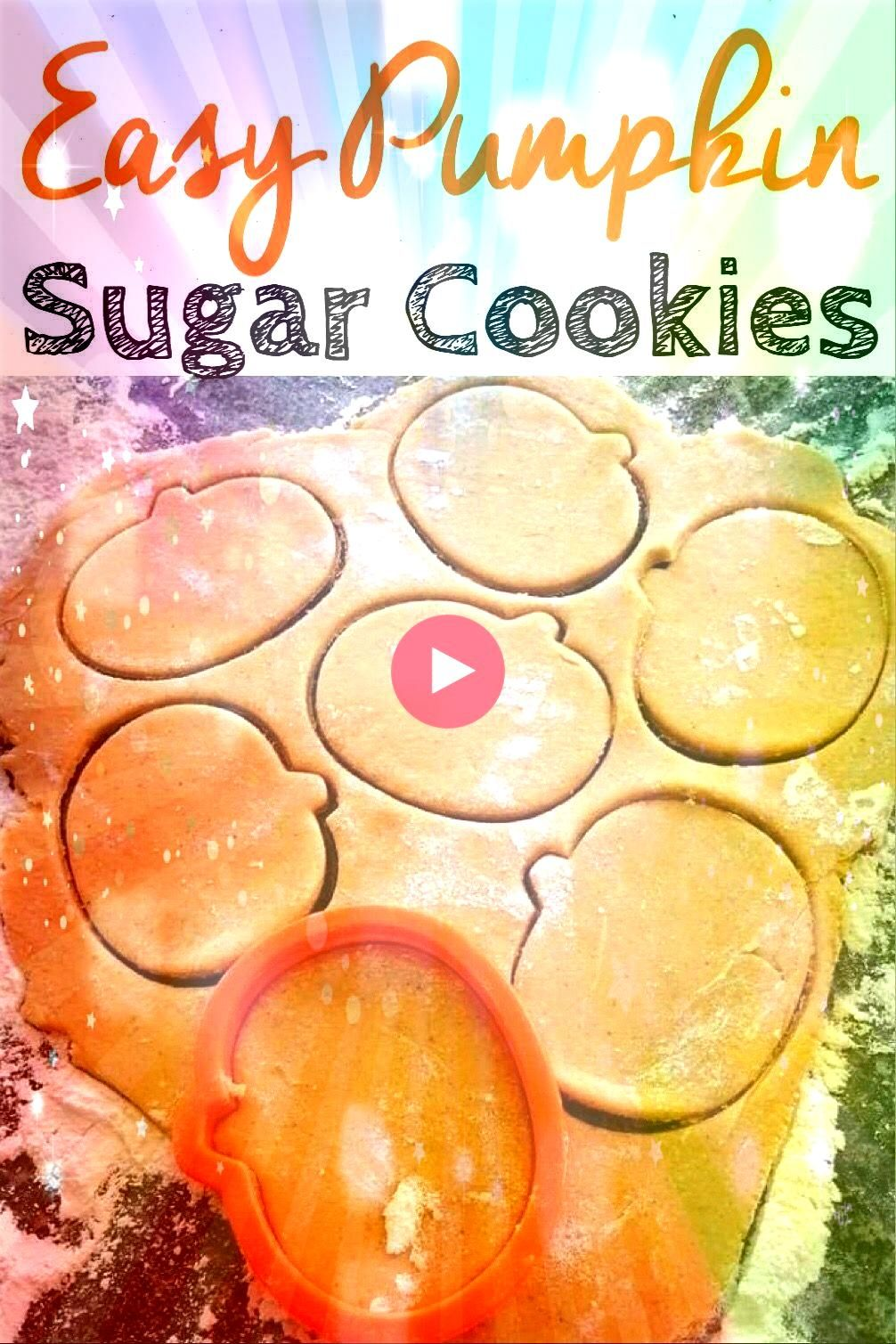 rolled sugar cookie dough recipe that has a hint of pumpkin and pumpkin spice Easy to make and perfect for Fall Halloween and ThanksgivingA rolled sugar cookie dough reci...