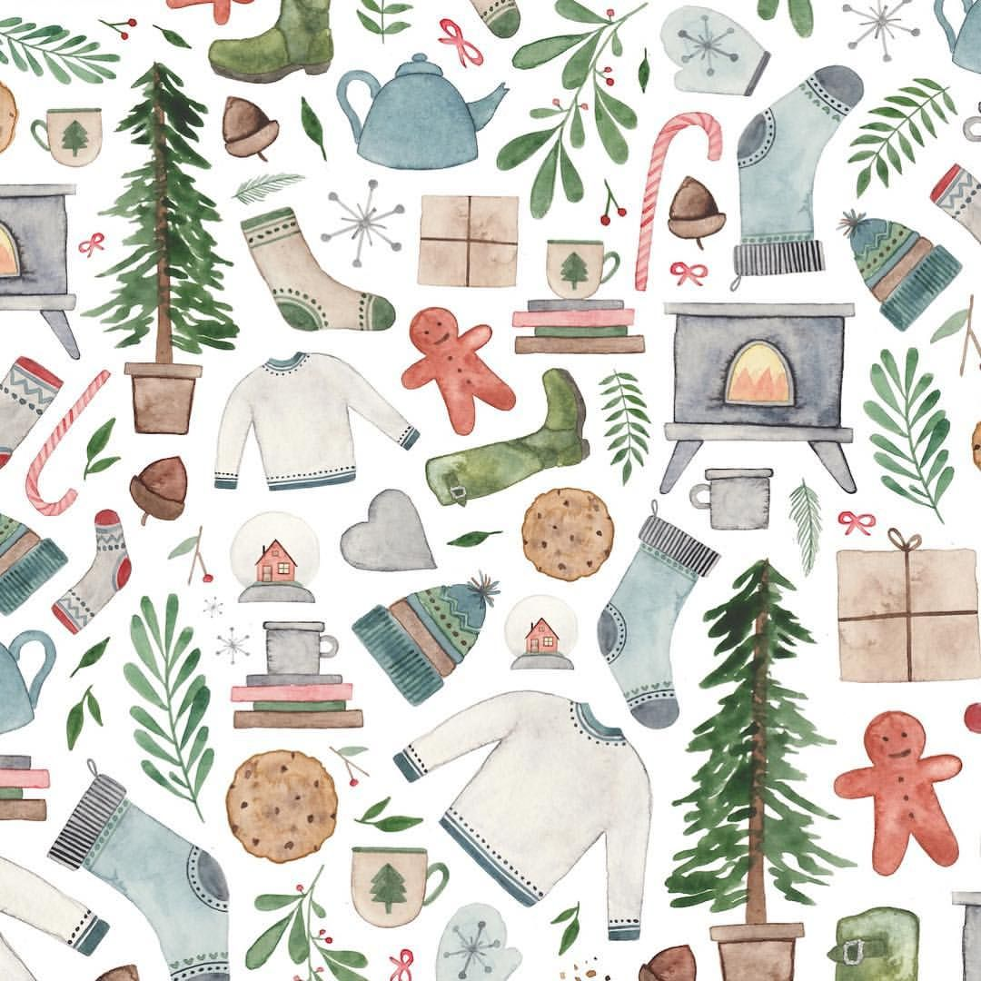 Elena O Neill Cozy Christmas Pattern Hygge Surfacepattern Christmas Wallpaper Christmas Prints Christmas Illustration