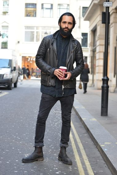 navy check shirt with a black leather biker jacket, black beanie ...