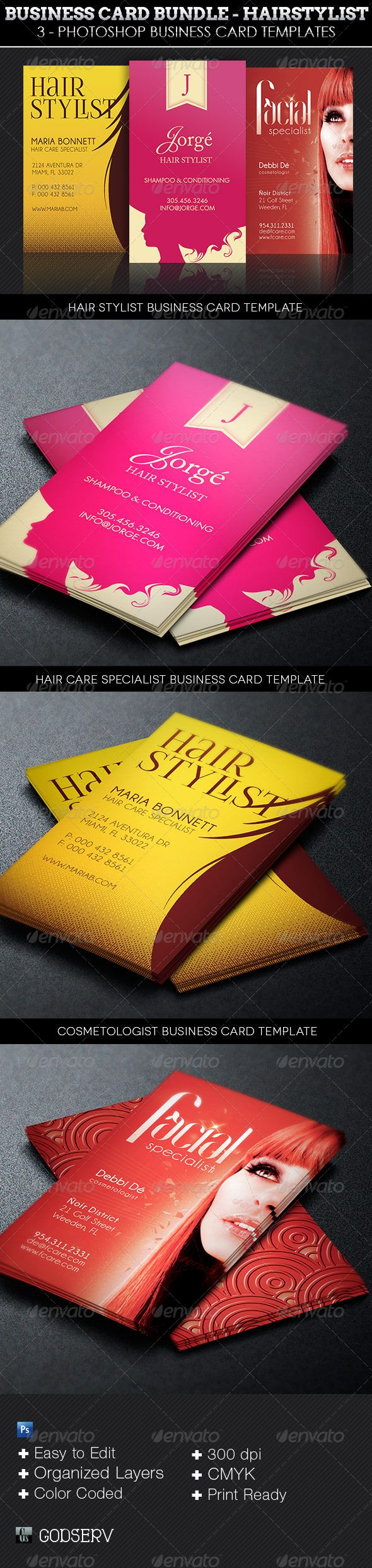 Hair Stylist Business Card Template Bundle Is For Modern Hair