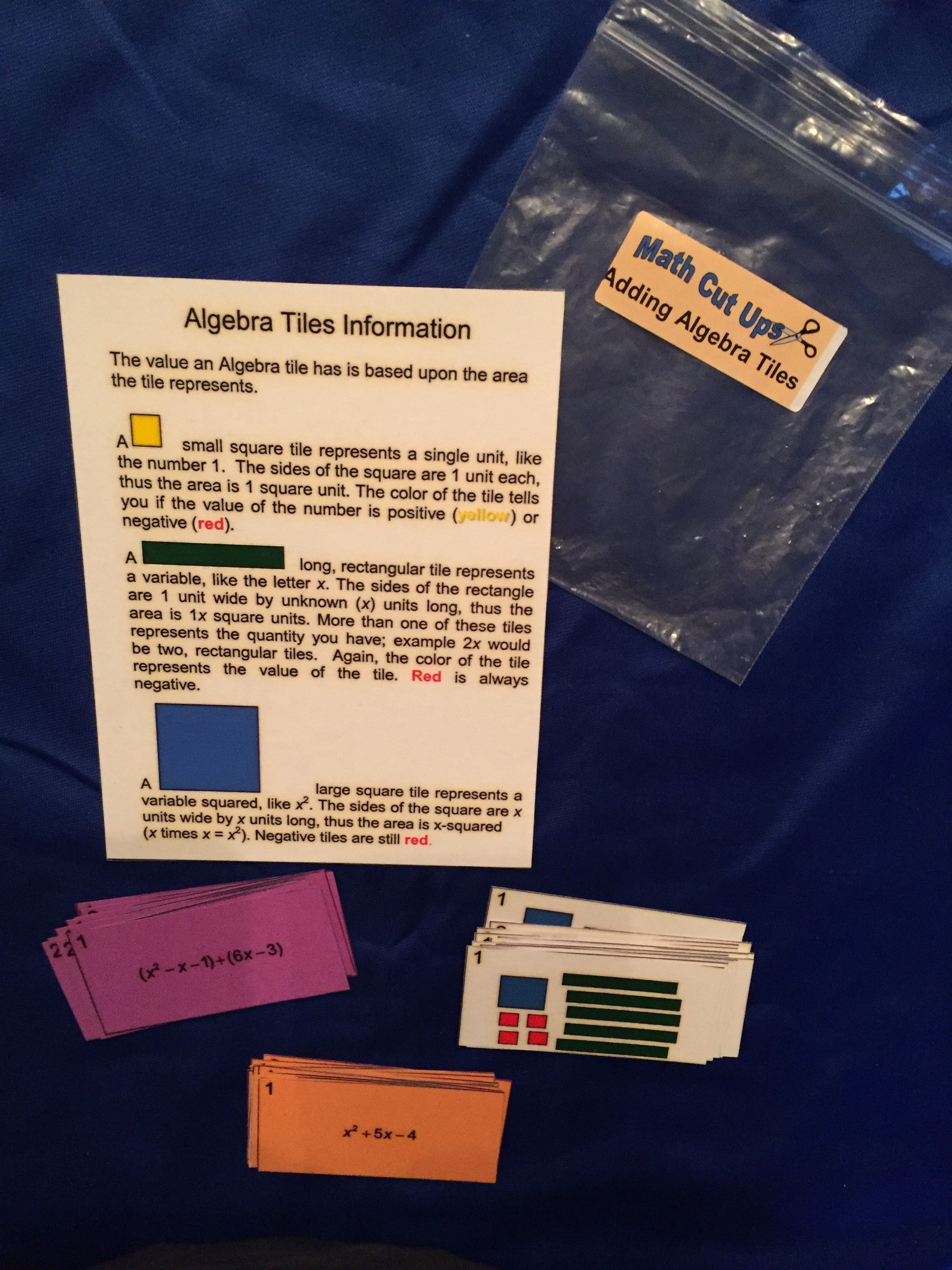 Adding Algebra Tiles Use This Activity To Bridge From