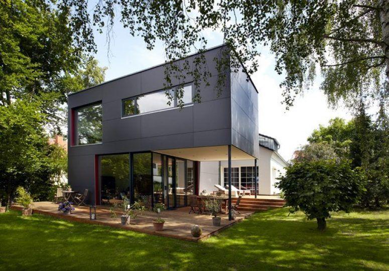 anbau an einfamilienhaus aussenansicht der gartenseite haus pinterest einfamilienhaus. Black Bedroom Furniture Sets. Home Design Ideas