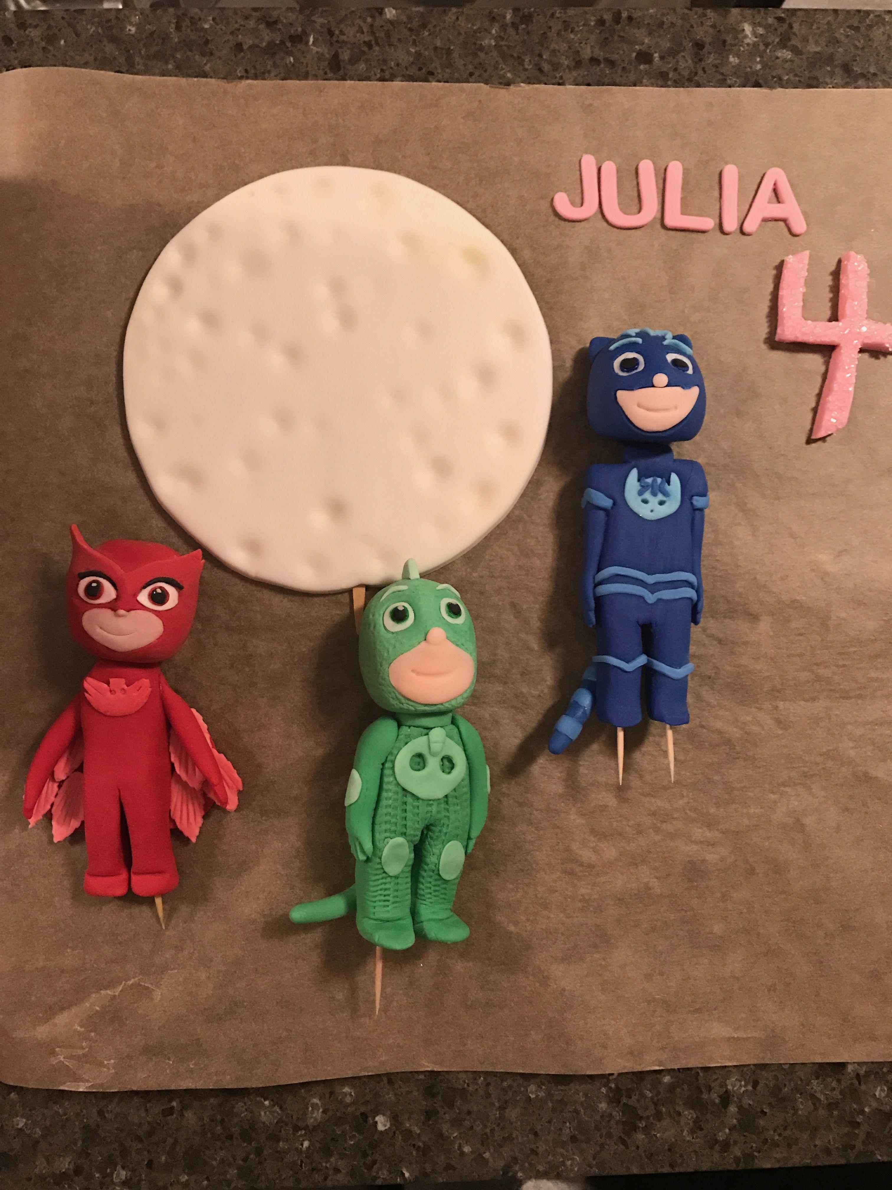 Owlette catboy gekko pj masks fondant cake toppers