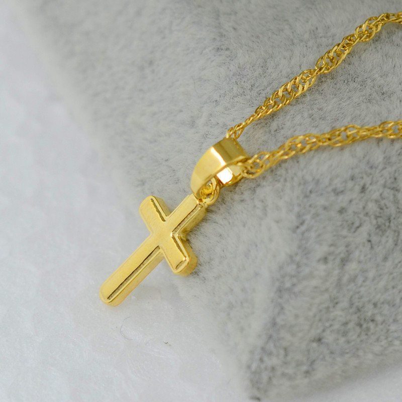 Small gold cross pendant necklace 18k gold plated jesus cross small gold cross pendant necklace 18k gold plated aloadofball Image collections