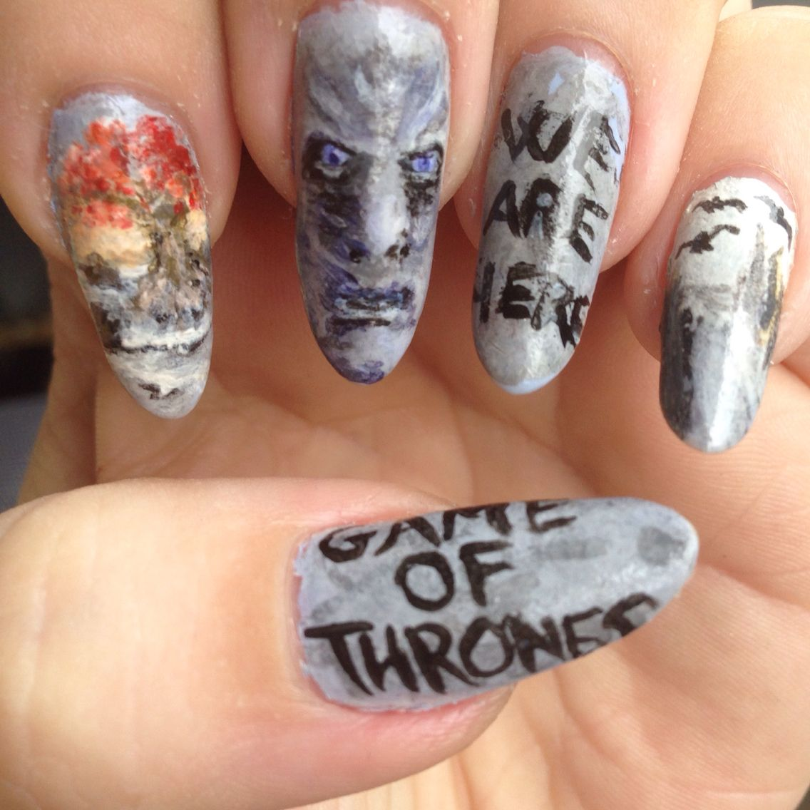 Handpainted nail art game of thrones White Walker winter is coming ...