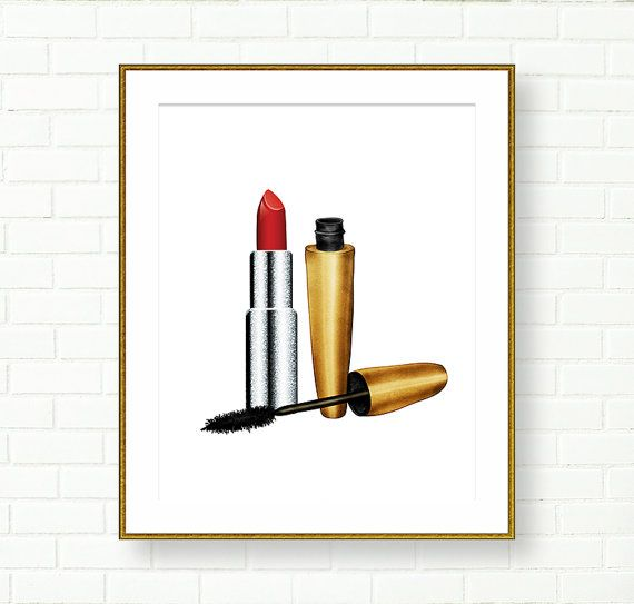 Vanity Wall Decor, Lipstick Print, Bathroom Art Print, Glam, Gold Silver,  Fashion Wall Art, Wardrobe Decor,Glitter, Mascara, Boudoir, Red