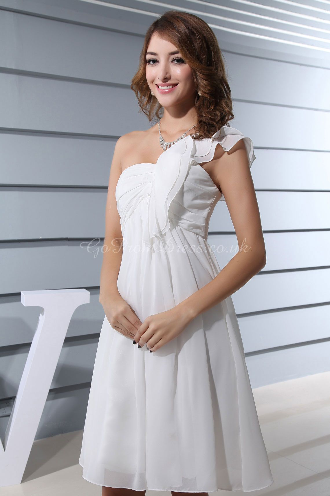Ball gown chiffon one shoulder empire kneelength zipper flutter