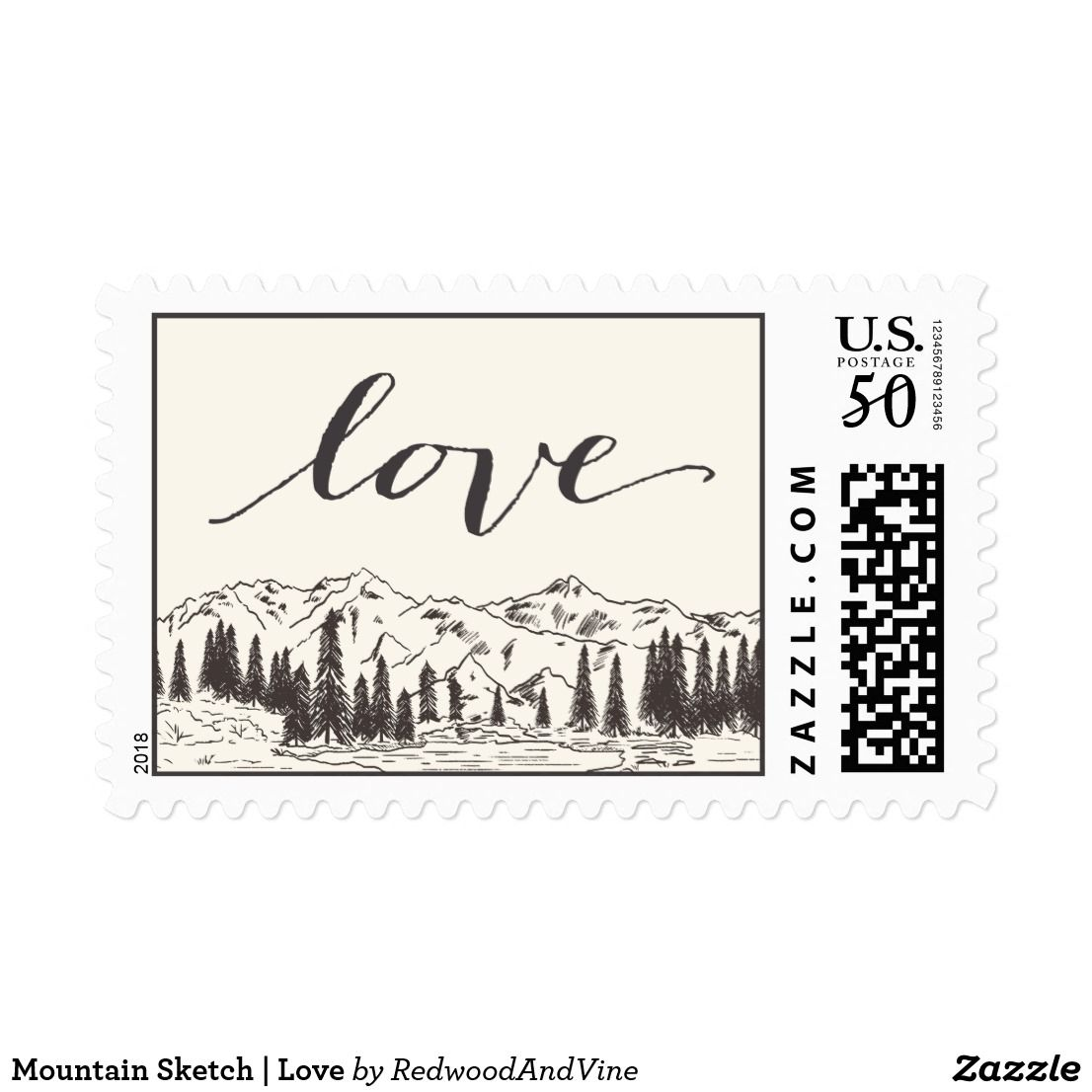 Mountain Sketch Love Postage Woodland Chic Postage Stamps Are A